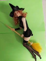 Larina green screen test. Flying broom. by WebWarlock