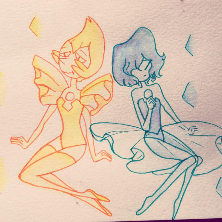 yellow and blue pearl by amykinomoto