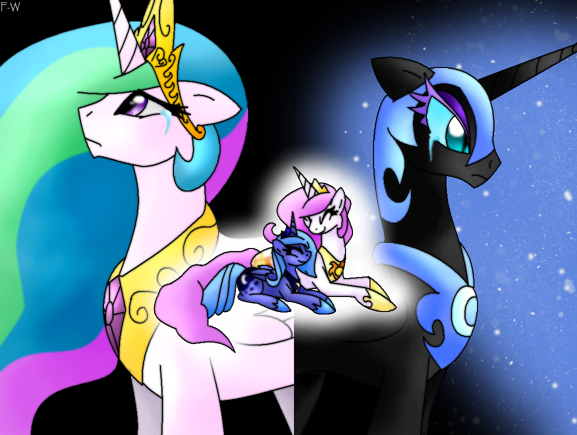 Celestia and Nightmare Moon-Memory by Faith-Wolff on ...
