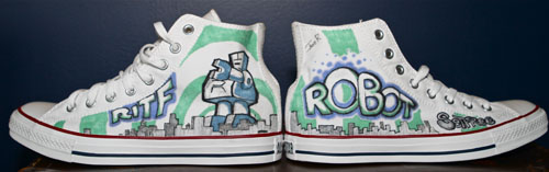 Custom Converse Sneakers: Robot of the Future by GreencardLove