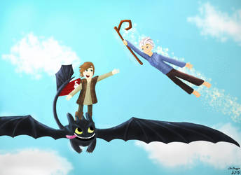 Day Flight (Hiccup, Jack, and Toothless) by silentmotives