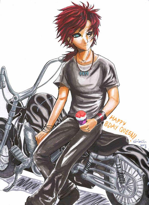 Attraction- Gaara and bike by kotori-chan