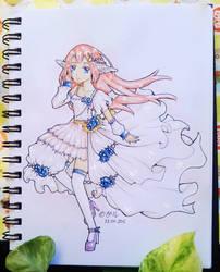 OC - Miyu in Blue Rose Dress by katoru92