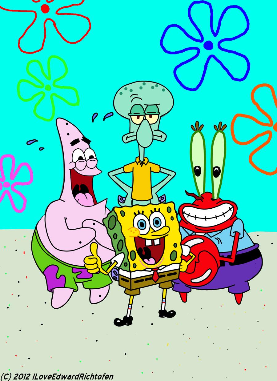 spongebob patrick squidward mr krabs by iloveedwardrichtofen