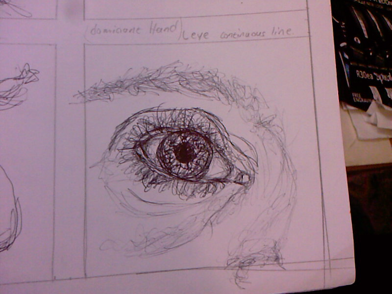 Line Drawing Eye : Continuous line pen left eye by screamboo on deviantart