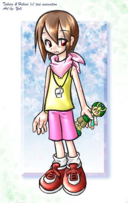 Hikari with a Takeru plushie by yolichan