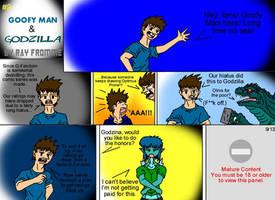 Goofy Man and Godzilla 9 by AlmightyRayzilla