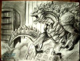 Godzilla charcoal sketch by AlmightyRayzilla