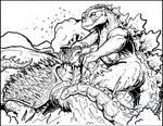 Commish - Godzilla vs Anguirus