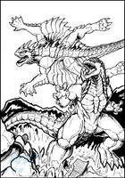 Commission - Godzilla vs Varan line art by AlmightyRayzilla