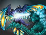Commission - GODZILLA VS. KING ZERO by AlmightyRayzilla
