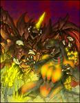 Commission - GODZILLA VS. DESTOROYAH by AlmightyRayzilla