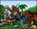 Commission - MONSTER ISLAND KERFUFFLE by AlmightyRayzilla