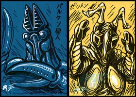 Inktober Stuff 2 - Baltan and Zetton sketch cards by AlmightyRayzilla