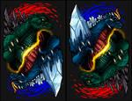 'Yin and Yang' Godzilla vs Space Godzilla by AlmightyRayzilla