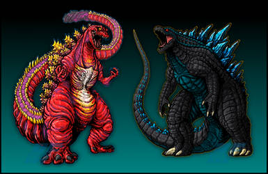 Supercharged Shin-Gojira and Legendary Godzilla by AlmightyRayzilla