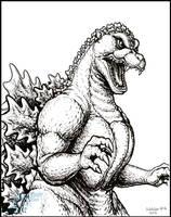 Best of Inktober 2016 - Godzilla 1989 by AlmightyRayzilla