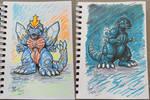 Chibi SpaceGodzilla and Godzilla marker sketches