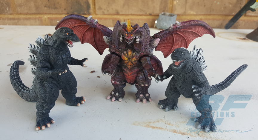 Custom-painted Godzillas and Destoroyah by AlmightyRayzilla