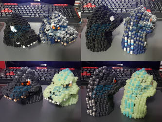 3D Perler Bead Godzilla 1989 heads by AlmightyRayzilla