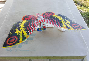 3D Perler Bead Mothra by AlmightyRayzilla