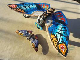 3D Perler Bead Rainbow Mothra
