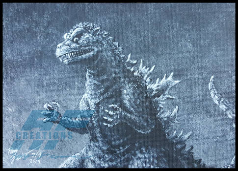 Gojira black 'n white painting