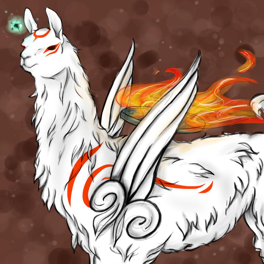 Albino Llama-Okami vers- by GnagnaParadeProject