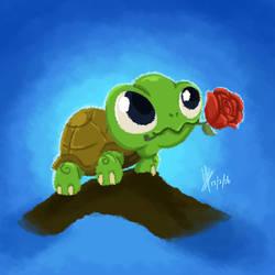kura-kura dan bunga rose by Blakant