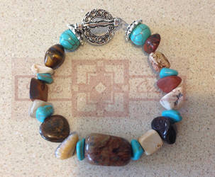 Turquoise/Brown Stone Bracelet by rosiecrafts