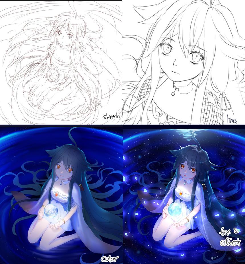 Moon Goddess Tutorial by chalii