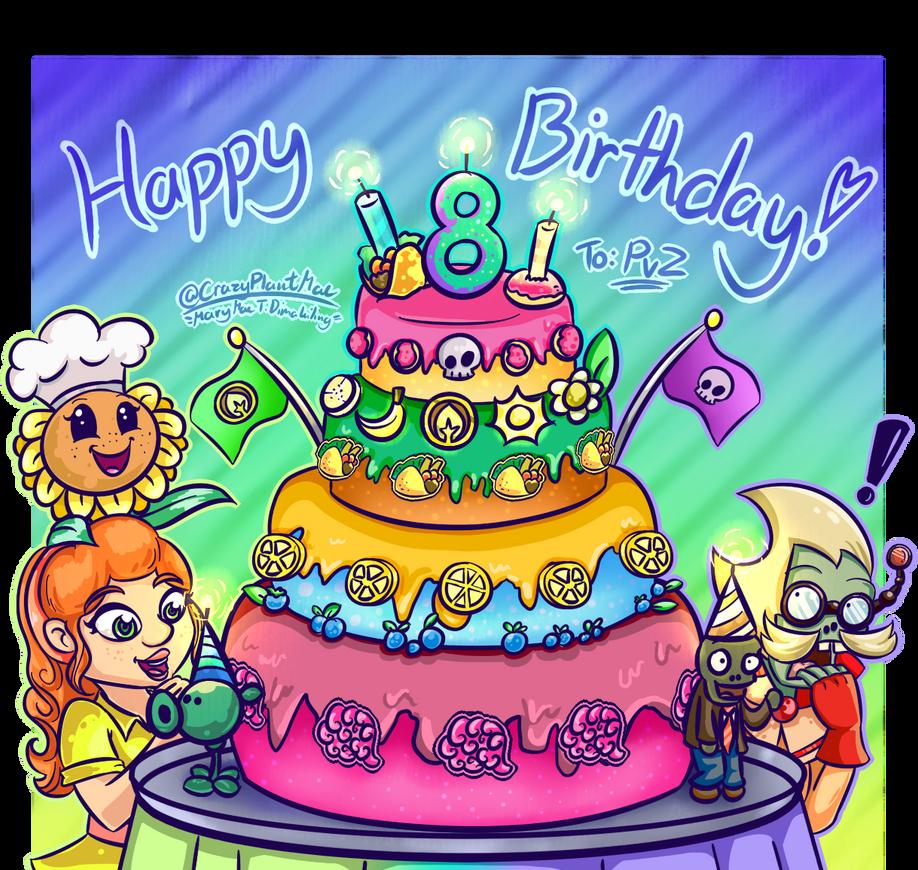 All Around Birthday Cake Pvz 8th Birthday By Crazyplantmae On