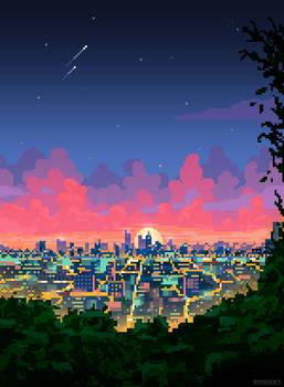 Pixel City Sunset