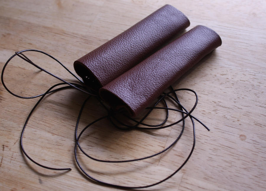 SD Brown Leather Bracers Upper Side by Slersk