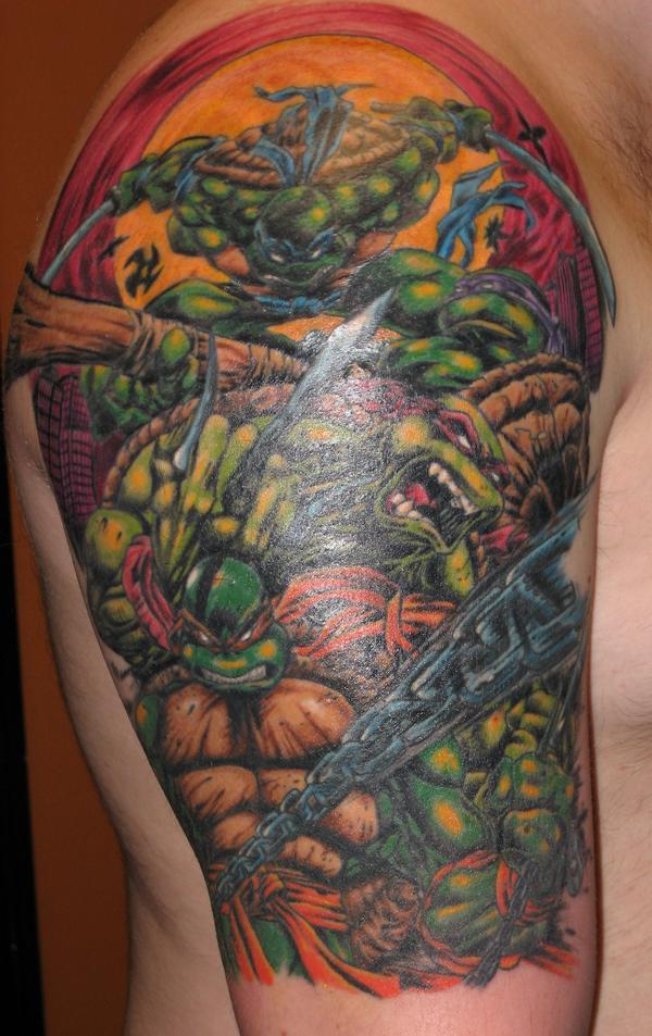 Complete ninja turtles tattoo by hiroxx on deviantart for Ninja turtles tattoo