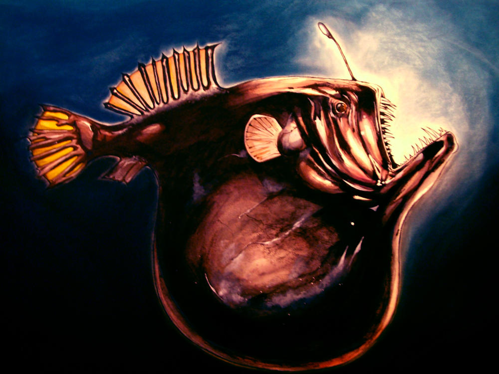 Deep sea angler fish large by dfbovey on deviantart for What is an angler fish