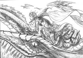 Dragon Rider Completed Pencils by dfbovey