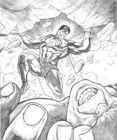Superman vs Hulk in progress by dfbovey
