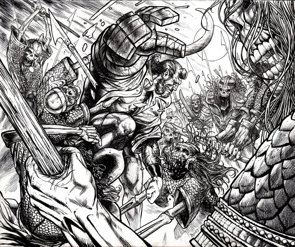 Hellboy vs Army of the Dead by dfbovey