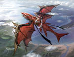 Red dragon flying