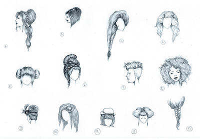 Hairstyle Sketches by CatherineWhite on DeviantArt