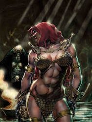 Red Sonja vs oldwitch by tonimaz