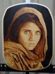 Sharbat Gula Afghan Girl 1984 Woodburning