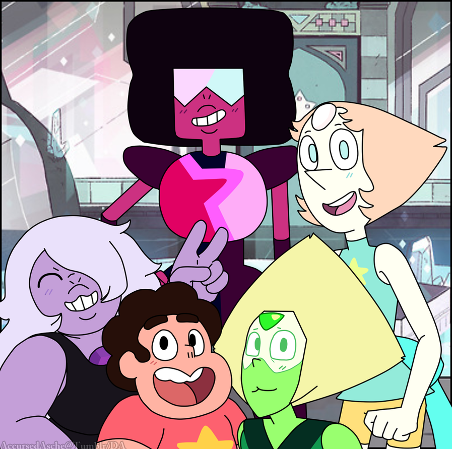 The Crystal Gems And House Guest By Accursedasche On