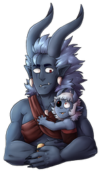 Dad and Daughter (Gift) by AccursedAsche