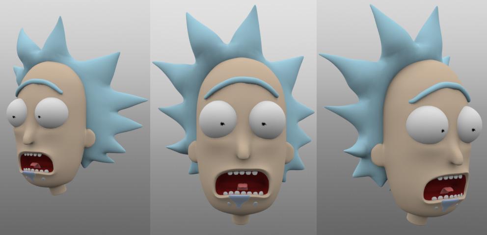 Rick and Morty - Rick in 3D - Progress shot by juzmental