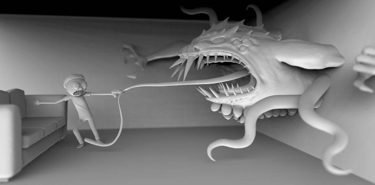 Morty versus Dimensional Beast - WIP by juzmental