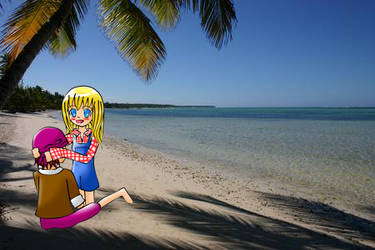 Claire with Kai at Beach by tiachan