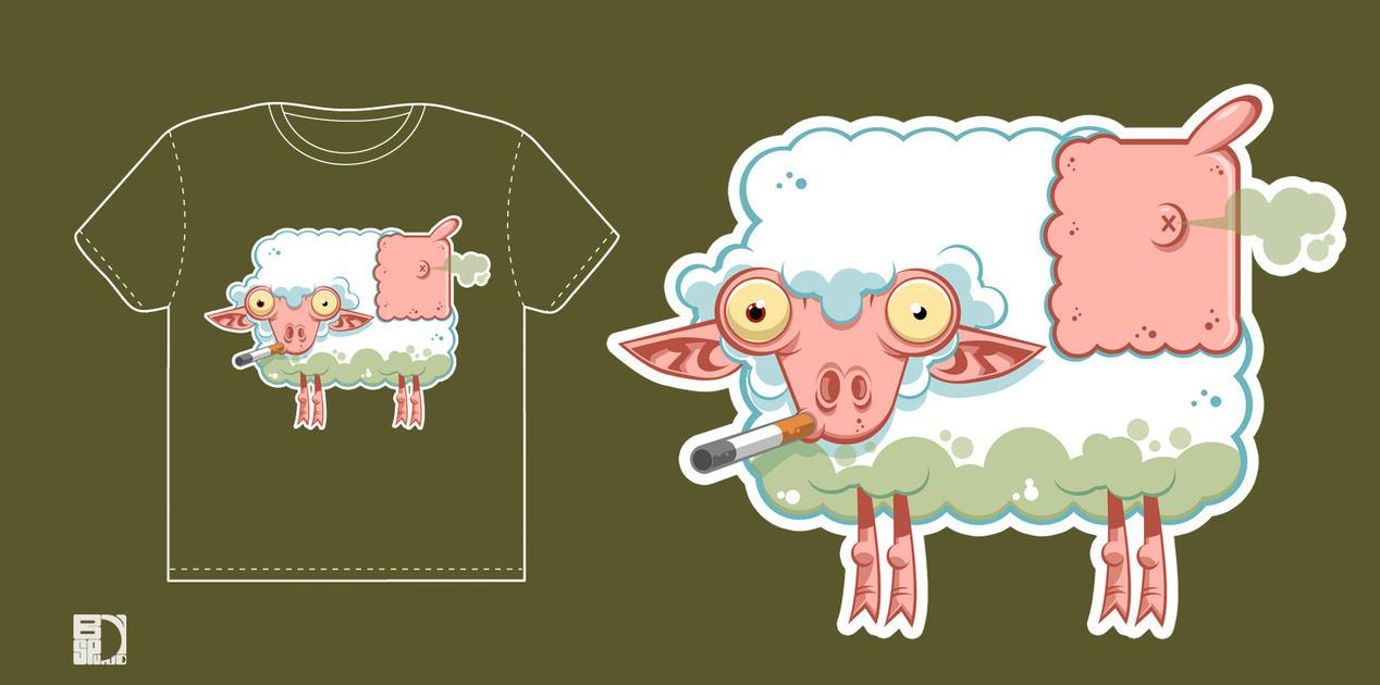 Sheep smoking tee by spundman