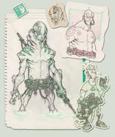 hellboy and Abe sketch by spundman